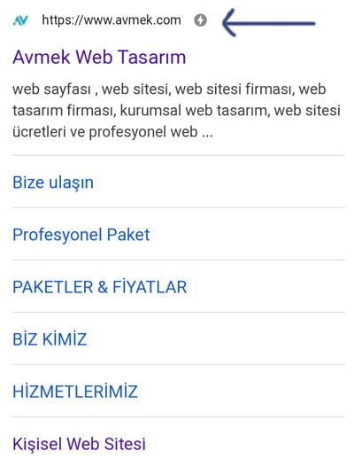 Google AMP ile yapılmış bir web sitesi