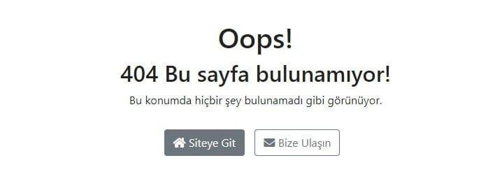 404 Hata sayfalarında mutlaka bir link yönlendirmesi bulunmalıdır.