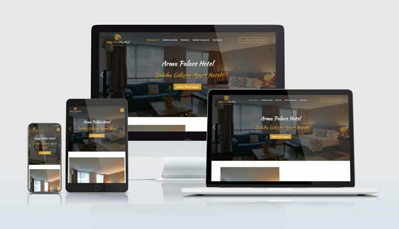 Mobil uyumlu otel web sitelerimiz her cihaz ekranına özel ölçü alabilecek esneklikte tasarlanmaktadır.