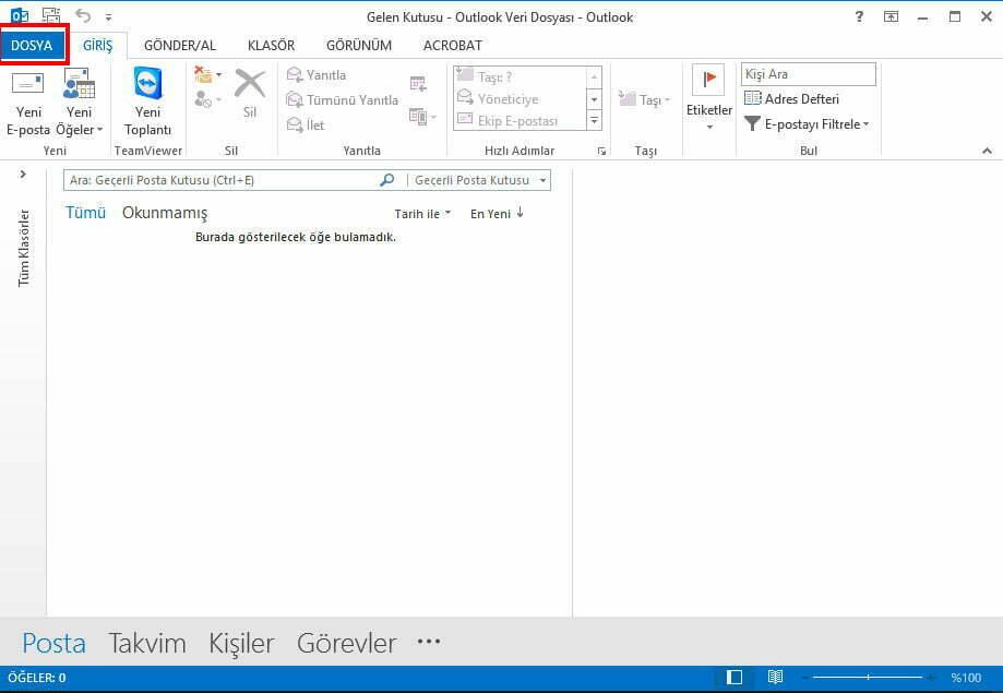 Outlook > Dosya Aç