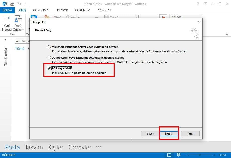 Yandex Mail Kurulumu POP veya IMAP ayarları