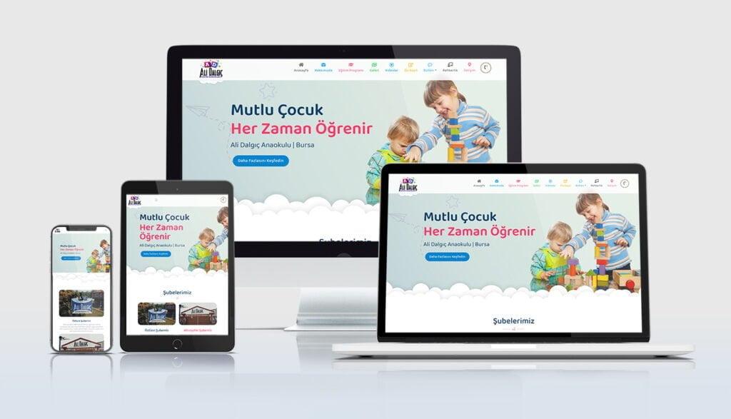 Mobil uyumlu anaokulu web sitelerimiz her cihaz ekranına özel ölçü alabilecek esneklikte tasarlanmaktadır.
